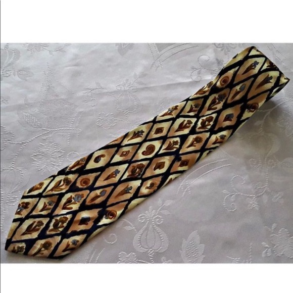 frederique lyon Other - 1960s French Frederique H Lyons Gold Floral Tie